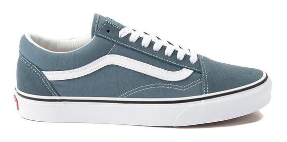 Tenis Vans Old Skool Azul Blue Skate Blancos Comodos Unisex