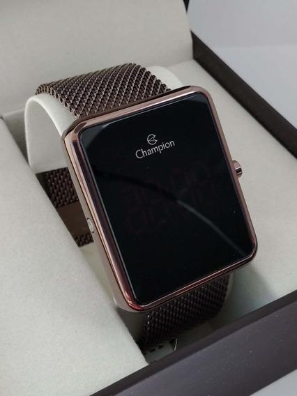 Relógio Champion Quadrado Digital Chocolate Ch40080r