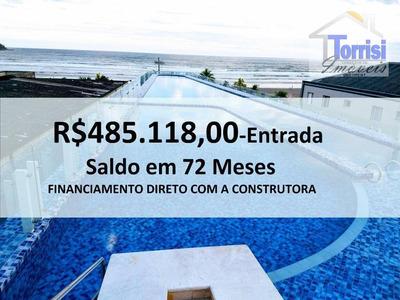 Cobertura Em Praia Grande, Duplex, Vista Para O Mar, 02 Salas Com Sacada, Goumrt Com Churrasqueira, Piscina Privativa, No Canto Do Forte , Cooo36 - Co0036