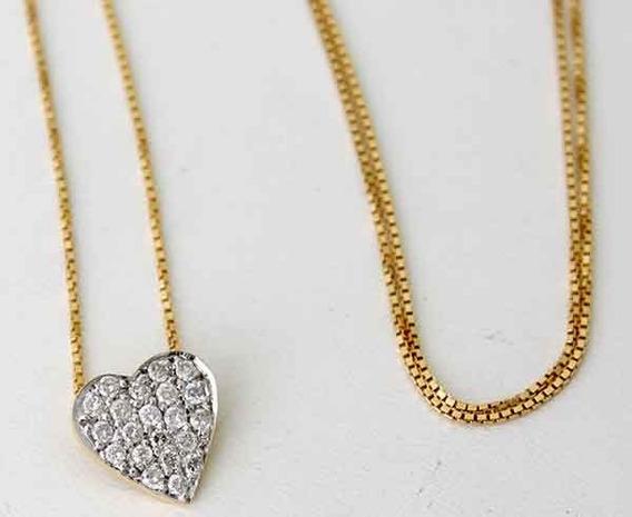 Corrente Com Pingente Coração Em Ouro Amarelo E Branco 18k