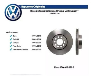 Kit 2 Discos De Freno Original Vw Bora Golf New Beetle