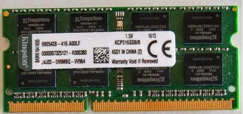 Imagem 1 de 1 de Memoria Kingston Ddr3 8gb - Kcp316sd8/8 1600 Mhz