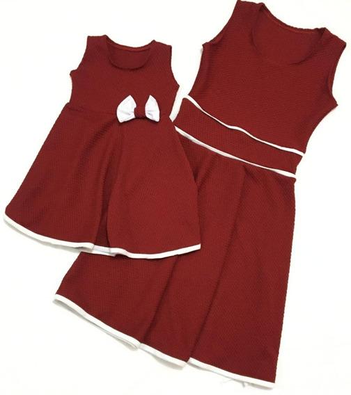 Vestido Tal Mãe Tal Filha Rosa Rodado Com Detalhe Promoção