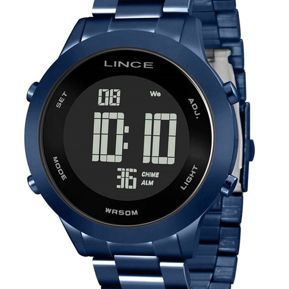 Relógio Unissex Lince Digital Azul Sdph082l Pxdx Original