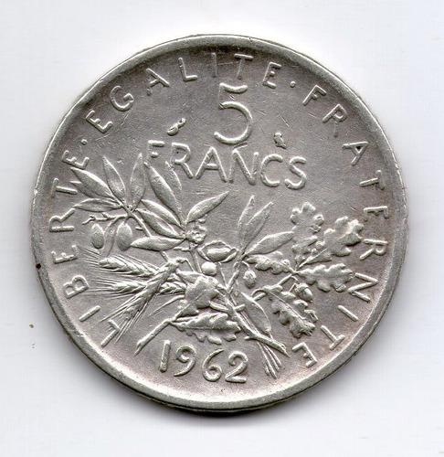 Francia Moneda De Plata 5 Francs 1962 - Km#926 - Argentvs