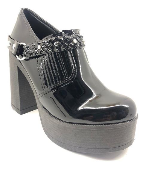 Zapato Plataforma Taco Separado Mujer Estribo Elástico (4820