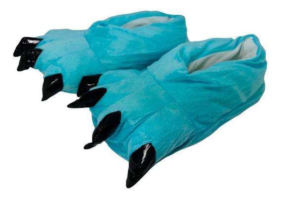 Pantuflas Tipo Garra Oso Azul Claro Para Pijama Calientitas