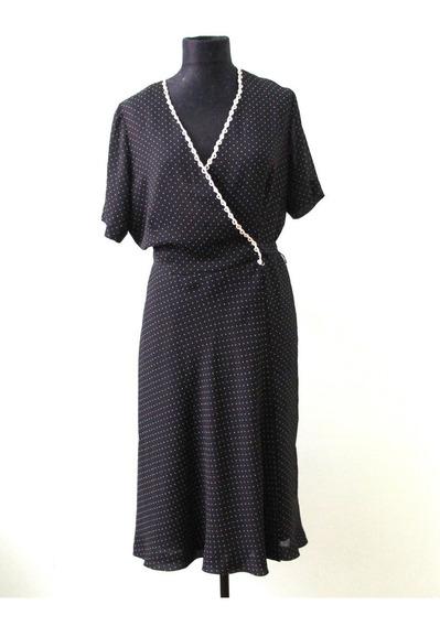 Elegante Vestido A Lunares Cruzado Donna Ricco - Envios