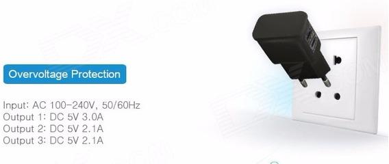 Adaptador Compacto Com 2 Saidas Usb Universal, Bivolt Da Ue
