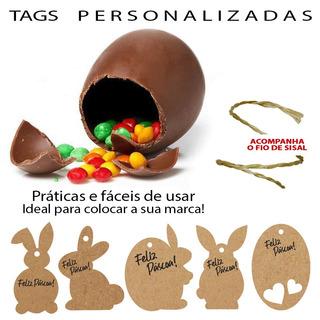 Tag Em Kraf Feliz Páscoa Personalizada Coelhinhos 100 Peças