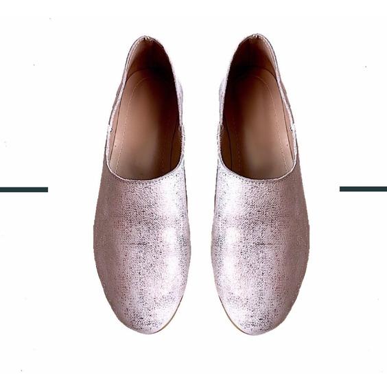 Zapato Mujer Slipper Cuero Plata Lynch #1900