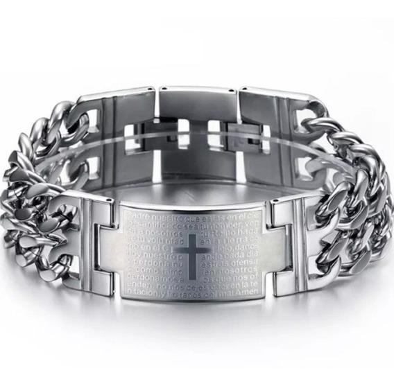 Bracelete Pulseira Masculina Religião Aço Inoxidável 316 L