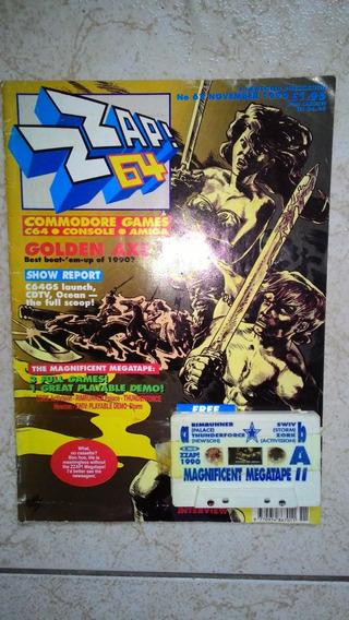 Revista De Game Zap! Z64 Com Fita Cassete Com 3 Jogos.