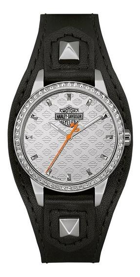 Reloj Harley Davidson Con Cristales Incrustrados 76l183