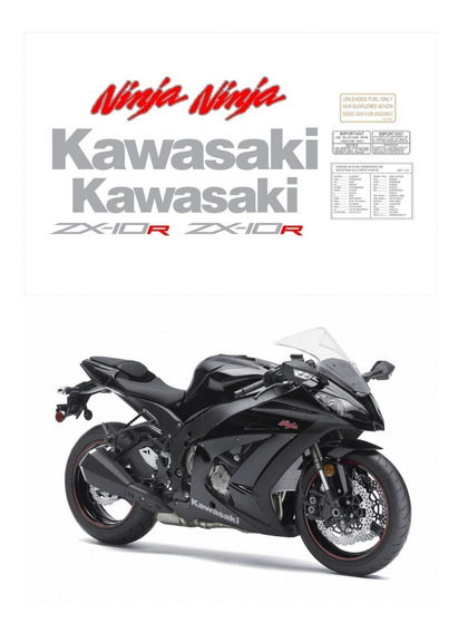 Kit Adesivos Moto Kawasaki Ninja Zx-10r 2011 Preta Ccr15985