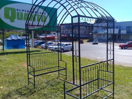 Gazebo De Metal 2metros Com Bancos Sem Lona Forte Ja Pintado