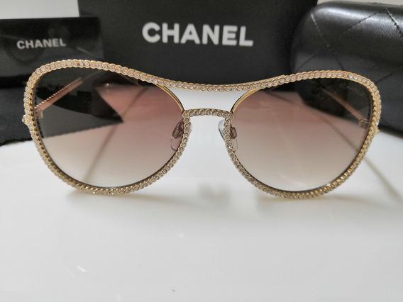 Óculos De Sol Chanel 71108 Metal Dourado E Marrom Com Pedras
