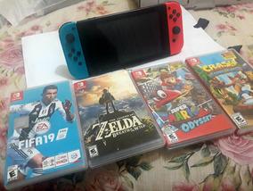 Nintendo Switch Neon + 4 Jogos Midia Física