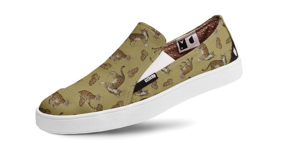 Tênis Usthemp Slip-on Vegano Casual Estampa Gato Bengal