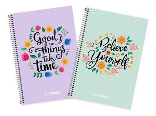 Pack X4 Cuadernos Espiral 70 Hojas Lettering Con Puntitos A5
