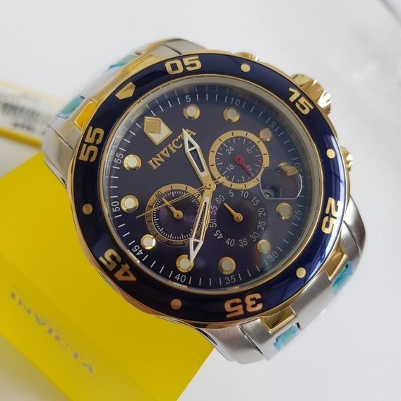 Relógio Invicta 0077 Pro Diver Original Prata Com Dourado