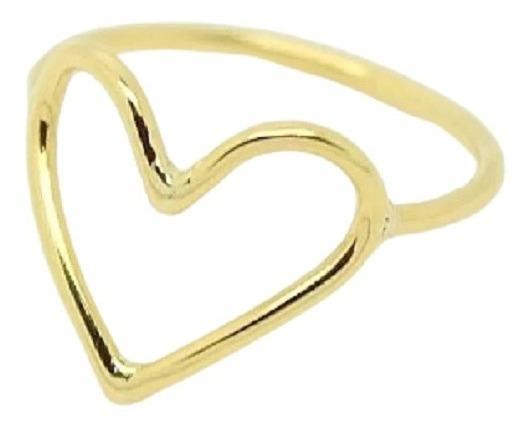 Anel Coração Vazado 1,2 Grs Ouro 18k Jsp1603
