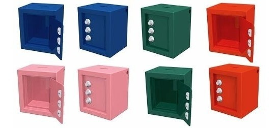 Cofre Porta Moedas Chapa 12x10x8 C/ Segredo Azul