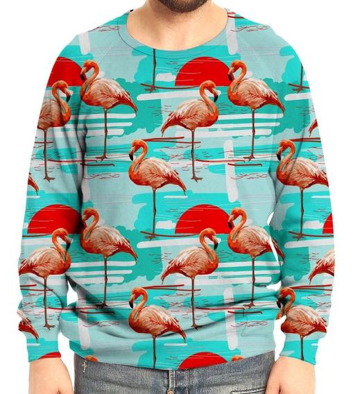 Moletom Raglan Unissex Flamingos