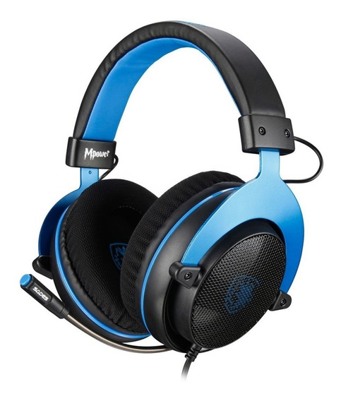 Auriculares gamer Sades Mpower black y blue