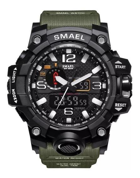 Relógio Masculino Esportivo Militar Shock Verde Novo