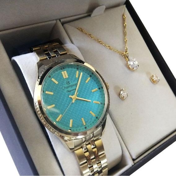 Kit Relógio Champion Feminino Dourado Cn27527y Colar Brincos