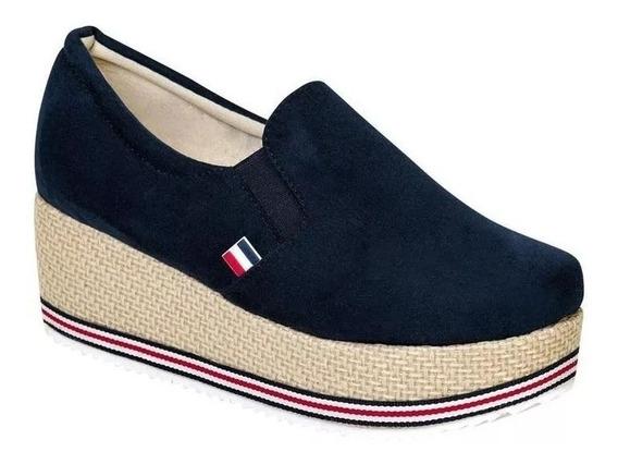 Zapato Cerrado Suhey Mujer Azul Tipo Nobuk 6002