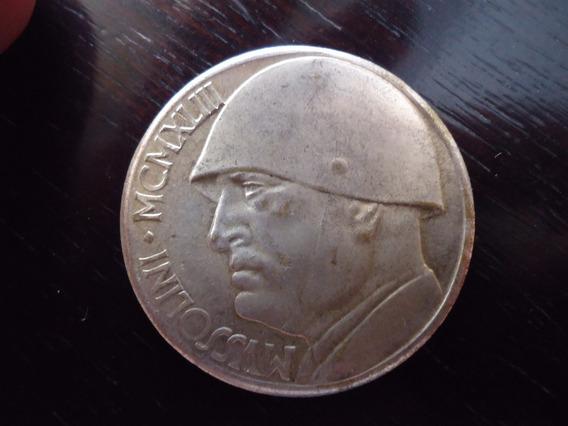 Moeda Prata 20 L Lira Lire 1943 Itália Mussulini Rara