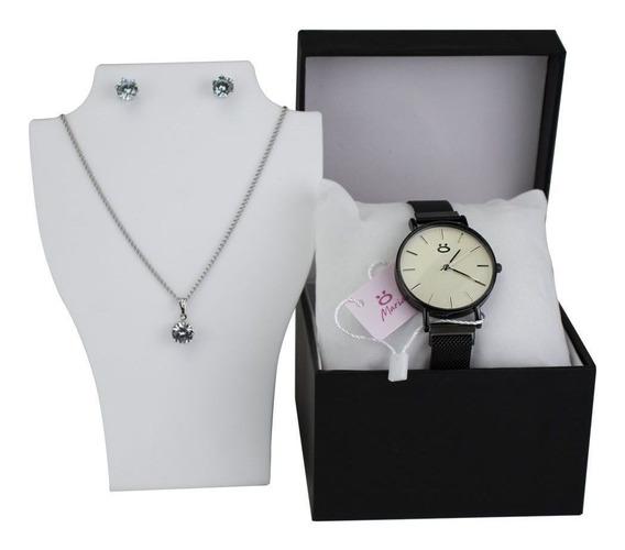 Relógio Feminino Preto Pulseira Magnética Original + Brinde