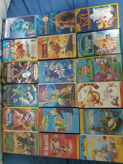 Lote De Filmes Em Vhs Infantil Disney, Pixar É Outros.