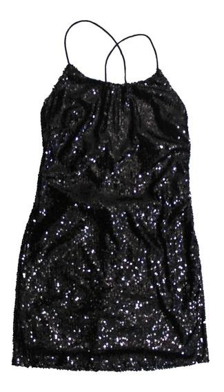 Vestido Mujer Negro Lentejuelas Espalda Descubierta (1800)