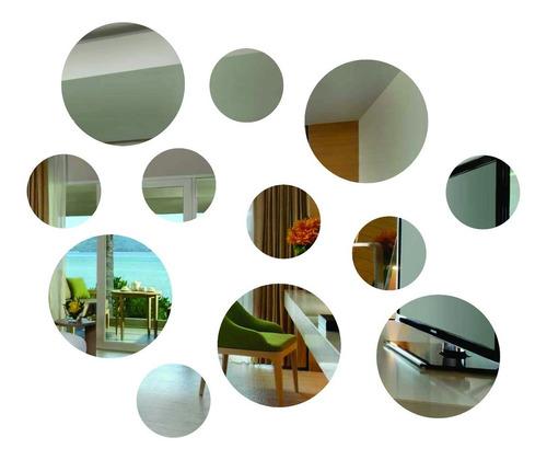 Imagem 1 de 1 de Espelhos Decorativos Redondo Kit 12 Peças Pequeno
