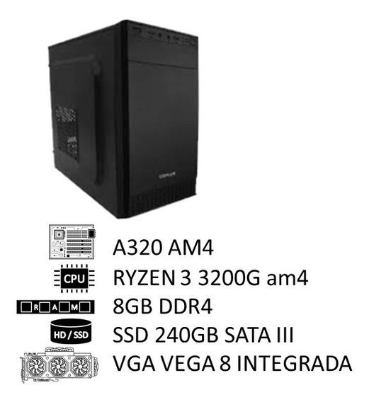 Pc Amd Ryzen 3 3200g Am4, 8gb Ddr4 2400mhz, Ssd 240gb, 350w