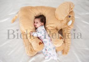 Almofada Travesseiro Elefante Pelúcia Bebê Dormir Bege 80cm