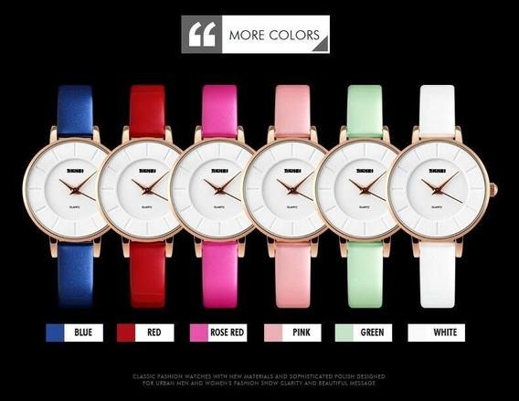 Relógio De Luxo Feminino Skmei 1178 Pulseira Couro Colorida