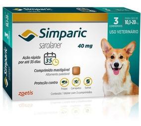Antipulga Simparic 40 Mg 10 A 20 Kg - 3 Comprimidos - Dez/20