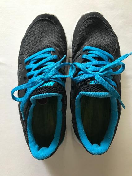 Zapatillas Gym Gris Oscuro + Turquesa. Talle 35.5 (us 5)