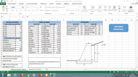 Planilha Para Calcular Muro De Arrimo (perfil Trapezoidal 1)