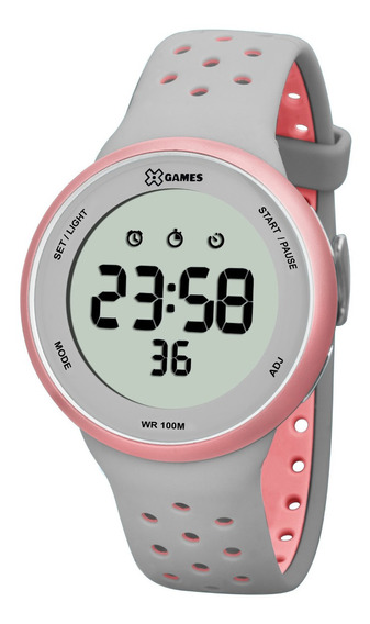 Relógio X-games Feminino Digital Xfppd039 Cinza Rosa