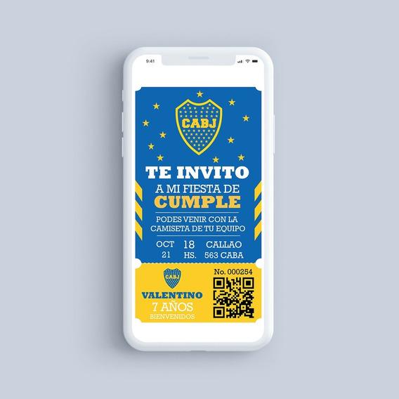 Tarjeta Invitación Digital Club Atlético Boca Juniors Fútbol