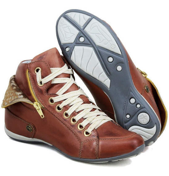 Tenis Sneakers Feminino Couro Bota Linda E Confortável