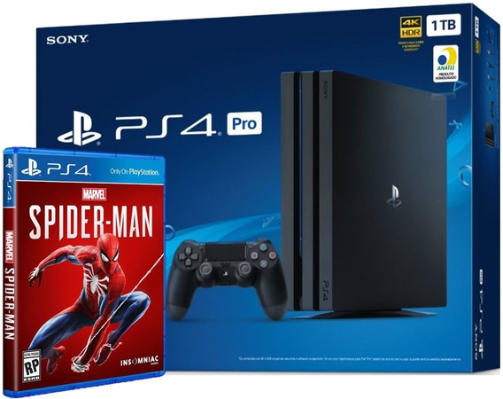 Playstation 4 Ps4 Pro 1tb 4k Hdr 7215b C/ Game Spider Man