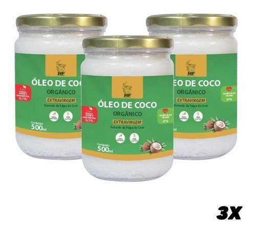 Imagem 1 de 3 de 3x Oleo De Coco 500ml Orgân. Extravirgem Hidrata Cabelo Pele