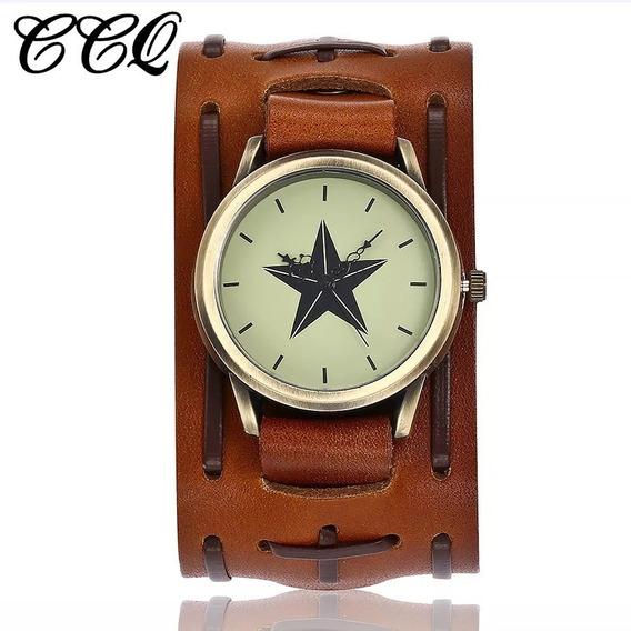 Relógio Bracelete Quartz Em Couro Masculino Pulseira Larga
