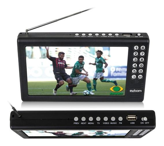 Mini Tv Digital Antena Portátil Tela 7 Pol Usb Rádio + N F